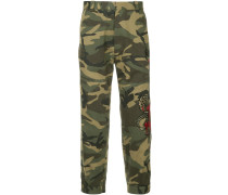 embroidered camouflage trousers