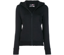 logo print zip front hoodie