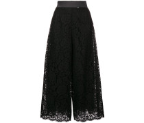 cropped floral lace trousers