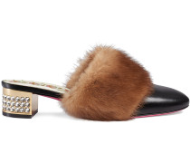 Leather slide with mink fur
