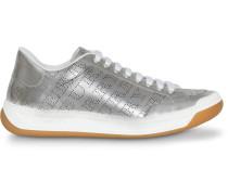Metallic-Sneakers mit Logos