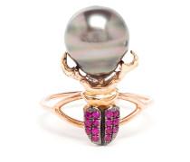 Ring aus 18kt Rotgold mit Perle und Rubinen