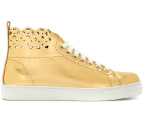 laser-cut high top sneakers