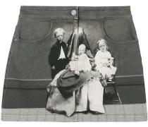 Jeans-Minirock mit viktorianischem Print