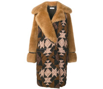 Shearling-Mantel mit Patchwork-Muster
