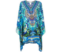 multi-print flared dress