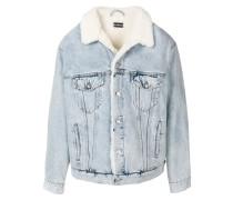 Jeansjacke mit Shearling-Besatz