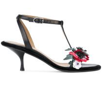 Sandalen mit Blumen-Applikationen
