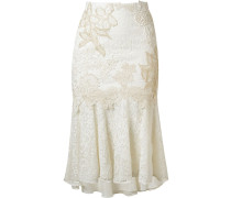 embroidered lace mix midi skirt