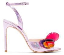 pink Soleil 100 glitter ruffle leather sandals