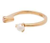 24kt vergoldeter Ring mit Perle