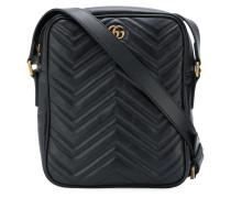 textured logo messenger bag