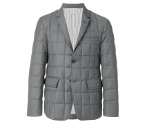 Downfilled Classic Single Breasted Sport Coat In Medium Grey Super 130's Wool Twill