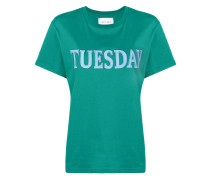 "T-Shirt mit ""Tuesday""-Stickerei"