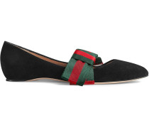 Suede ballet flats with Web bow
