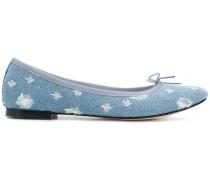 distressed denim ballerina shoes