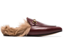 Princetown flat leather and lambswool mules