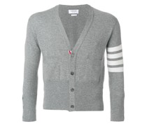 Short V-Neck Cardigan With 4-Bar Stripe In Light Grey Cashmere