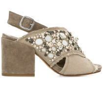 gem embellished block heel sandals