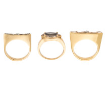 gold plated three rings set