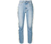 Cropped-Jeans mit Fransen