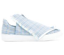 foldover plaid slip-on sneakers
