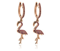 18k rose gold flamingo hoops with pink sapphires and black diamond eyes