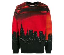 Intarsien-Pullover mit Skyline