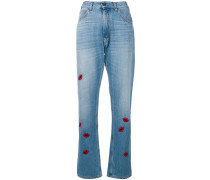 embroidered lip patch mom jeans