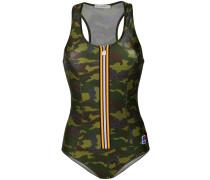 Camouflage-Badeanzug mit Kontraststreifen