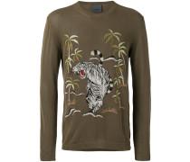Pullover mit Dschungelstickerei