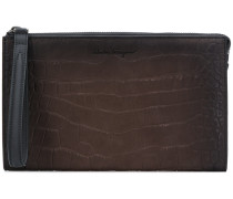 crocodile embossed zip pouch