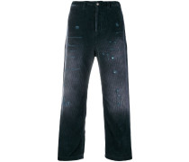Gerade Cordhose in Distressed-Optik