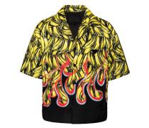 banana and flame print shirt