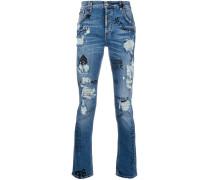 Distressed-Jeans mit Graffiti-Prints