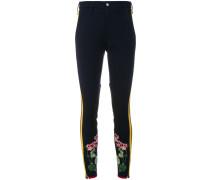flower embroidered stripe leggings