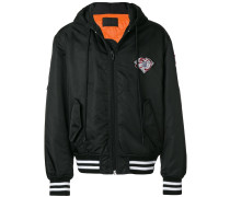athletic patch hooded bomber jacket