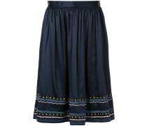embroidered trim midi skirt
