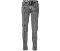 Skinny-Jeans mit aufgesticktem Blitz