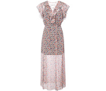 scattered flowers crinkled chiffon dress