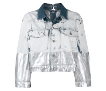metallic-coated denim trucker jacket