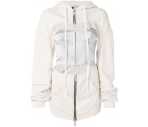 cut-out detail zipped hoodie