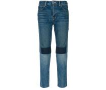 Hoch sitzende Patchwork-Jeans