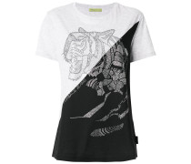 T-Shirt mit Kristall-Tiger-Motiv