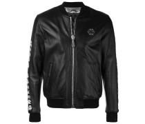 back print leather jacket