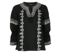 embroidered long-sleeve blouse
