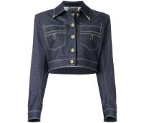 Cropped-Jeansjacke mit Ziernähten