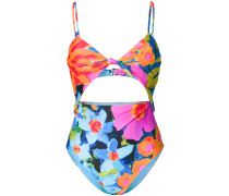 floral print cut-out swimsuit