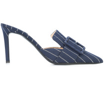 stripe embroidered buckle front mules