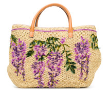 floral embroidered tote bag